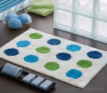 Gedy - Udaipur kék-zöld pöttyös fürdőszoba szőnyeg (kádkilépő) - Fürdőszoba kiegészítő ...