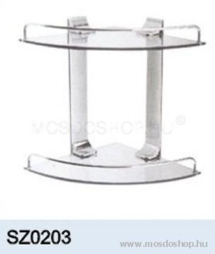 Diplon - Fürdőszobai sarok üveg-fém polc (2-es) (tusfürdőtartó) - Fürdőszoba kiegészítő ...