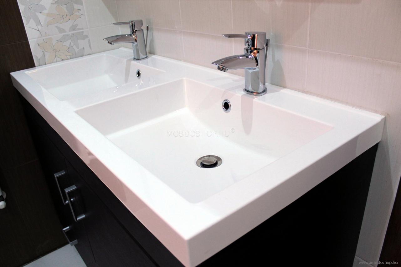 Marmy - Imola 120 x 50 cm dupla szögletes beépíthető mosdó, pultba ...